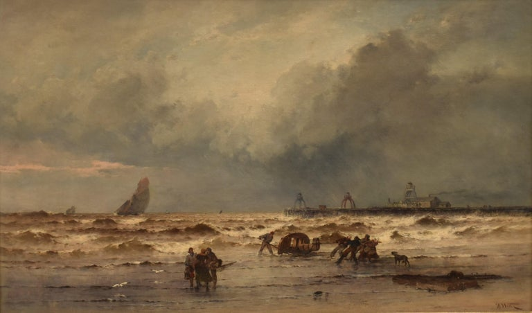 Coastal view with fisherman at rough weather - Classical Art Ornament Frame - Painting by Théodore Weber