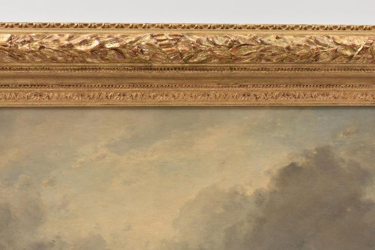 Coastal view with fisherman at rough weather - Classical Art Ornament Frame For Sale 1
