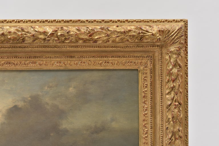 Coastal view with fisherman at rough weather - Classical Art Ornament Frame For Sale 2