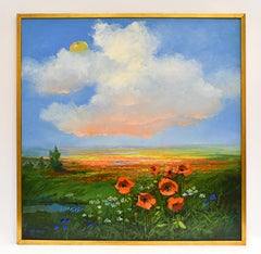 Landscape with poppy and cornflower