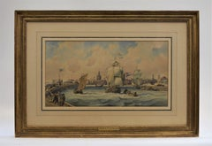 Harbor view St. Malo - Classical Art, Watercolor, 1820, Realist, French Artist