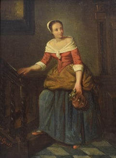 Lady in interior - Oil Paint on Wood Panel, Classical Art, Dutch Artist