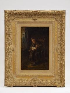 The reading Rabbi  - Romantic painting Dutch Famous Oil Rabbi