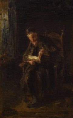 The reading Rabbi  - Romantic painting Dutch Famous Oil Rabbi