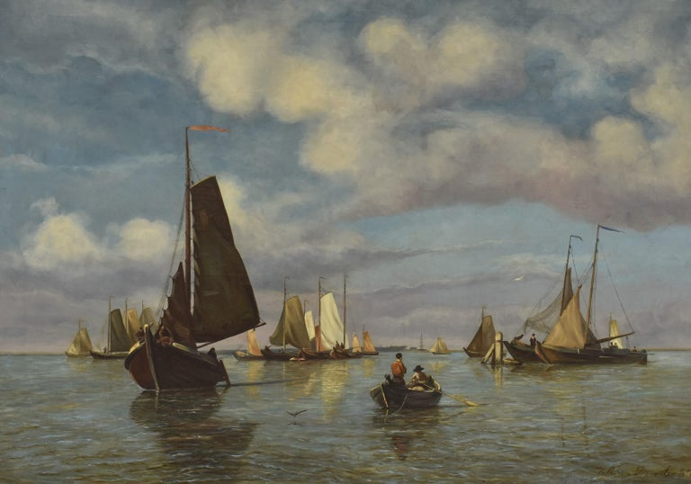 Willem Anthonie van Deventer Landscape Painting - View on Dutch water with boats - Classical Art Romantic Canvas Ornamental Frame