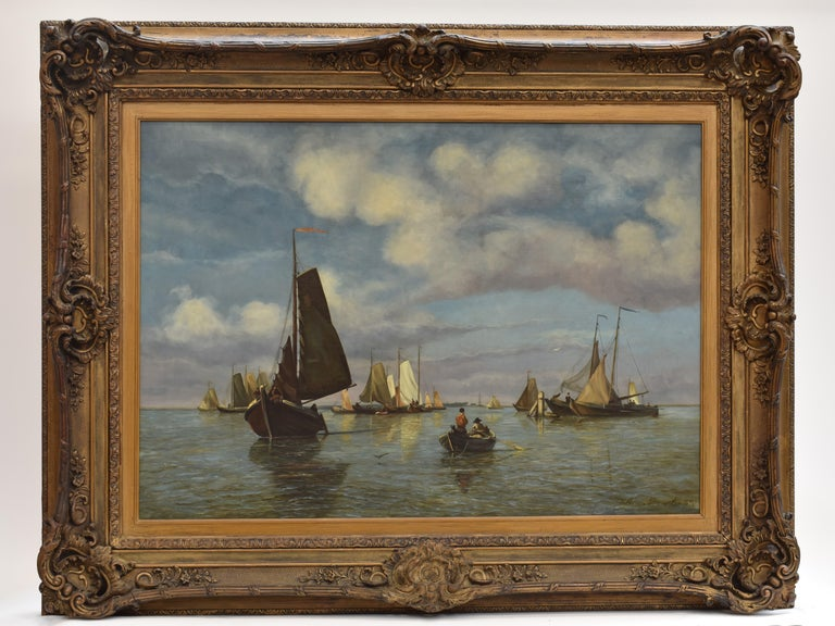 View on Dutch water with boats - Classical Art Romantic Canvas Ornamental Frame - Painting by Willem Anthonie van Deventer
