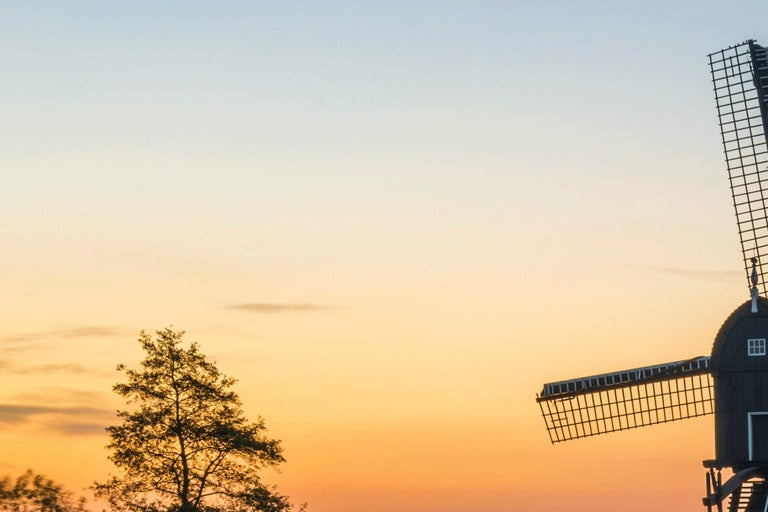 Dutch landscape with mill - Photography Dibond Travel Waterfront Sunset Colour  For Sale 1
