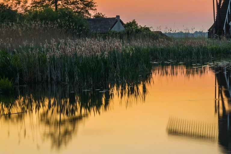 Dutch landscape with mill - Photography Dibond Travel Waterfront Sunset Colour  For Sale 4