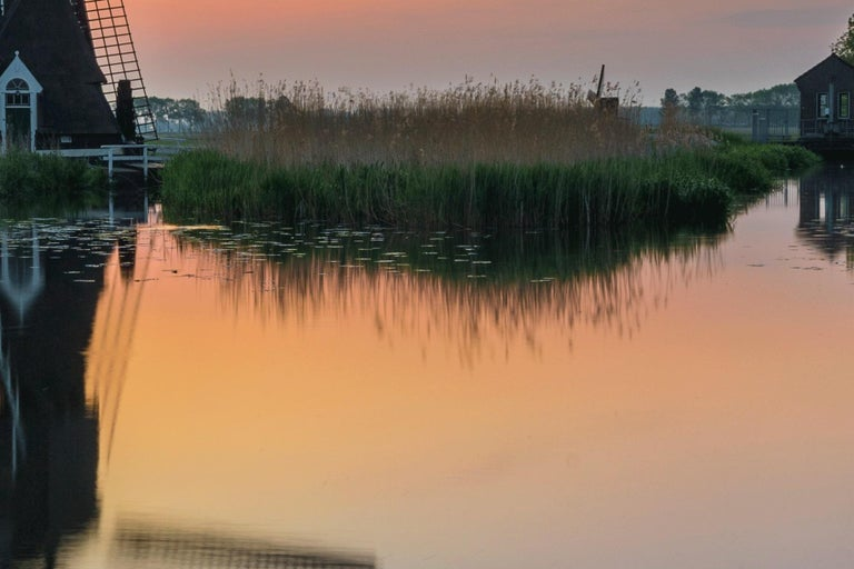 Dutch landscape with mill - Photography Dibond Travel Waterfront Sunset Colour  For Sale 5