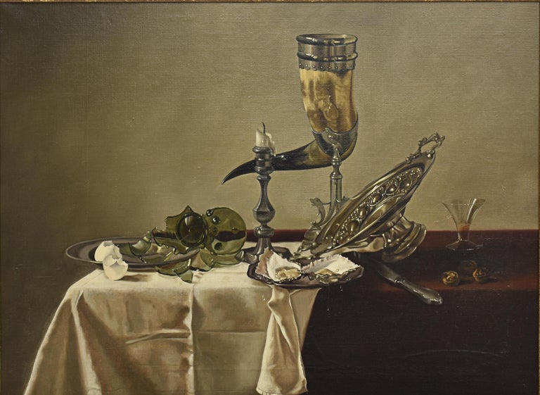 Still life dining table with oysters -  For Sale 1