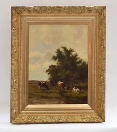 Grazing cows - Impressionist Classical Art Animals Landscape Ornamental Frame