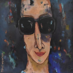 Punch - Acrylic Paint on Canvas Expressionism Colorful Sunglasses Woman