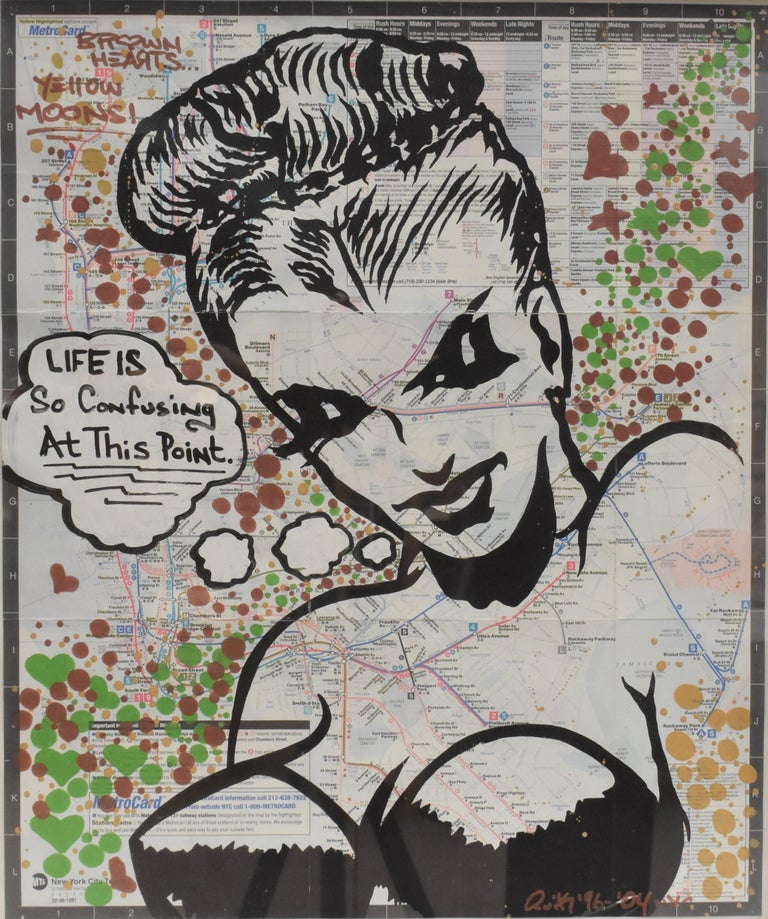 LIFE IS So Confusing At This Point- Pop Art, Map NYC, Female For Sale 1