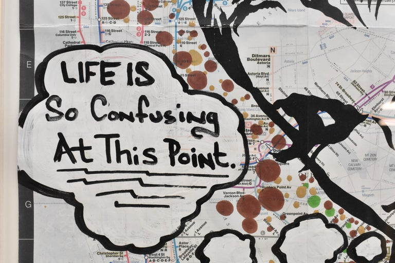 LIFE IS So Confusing At This Point- Pop Art, Map NYC, Female For Sale 6