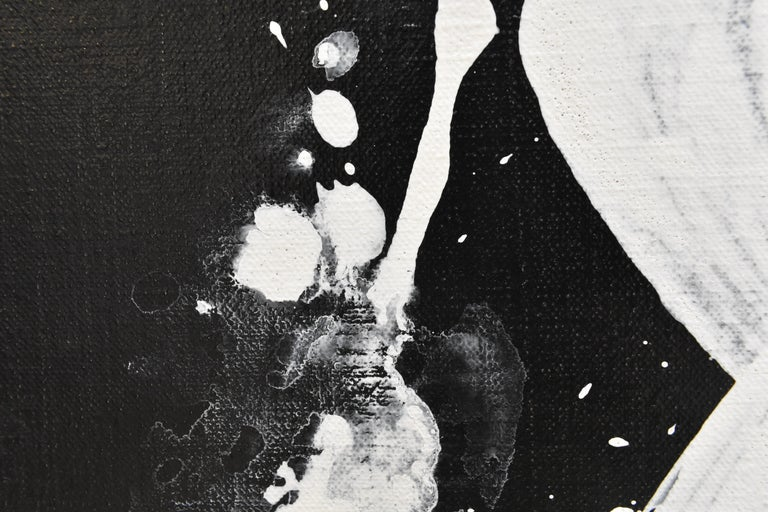Evolution No. 2 - Abstract, Acrylic on Canvas, Black and White For Sale 1