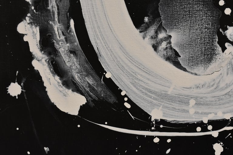 Evolution No. 2 - Abstract, Acrylic on Canvas, Black and White For Sale 10
