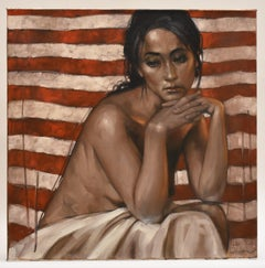 Nude woman sitting down - Contemporary Figurative Art Oil on Canvas, Nudity skin