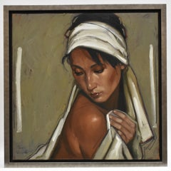 Nude woman wrapped in white - Contemporary Figurative Art, Nudity, skin