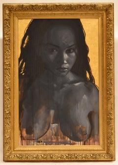 Dark woman nude (Monica) - Contemporary Figurative art, Oil on Canvas, Nudity