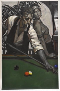 The hustler 2 - Contemporary Figurative Art Black and White, man and woman pool