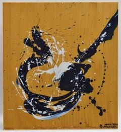 Revolution 13 - Abstract art, Navy, White, Acrylic Paint on Canvas