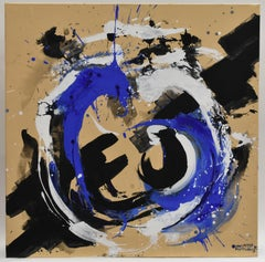 Revolution 29 - Abstract Art, Black, White, Blue, Acrylic Paint on Canvas