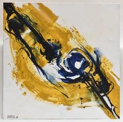 Revolution 33 - Abstract Art, Yellow, Navy, Acrylic Paint on Canvas