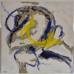 Revolution 27 - Abstract Art, White, Blue, Yellow, Acrylic Paint on Canvas