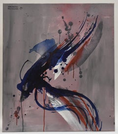 Revolution 23 - Abstract Art, Blue Red White Pink Grey, Acrylic Paint on Canvas