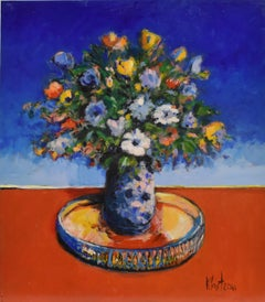 Bouquet - Expressionism Art Acrylic Paint on Panel Colorful Flowers