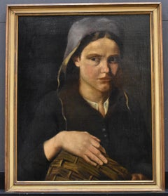 portrait of a woman with a basket - Classical Art, Oil on Panel