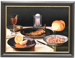 Realistic still life with seafood