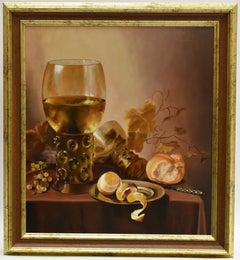 Realistic still life with two wineglasses - Classical Art Oil Paint
