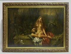 Woman bathing nude near the water - oil painting,