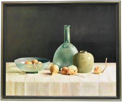 Realistic still-life with vases and onions