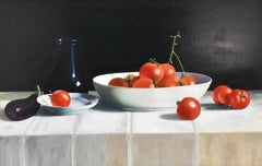 Realistic still-life with bowl with tomatoes