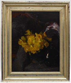 Still-life of flowers in yellow - early 20th century modernist painting De Ploeg