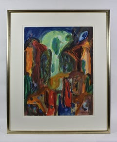 Dutch Artist Abstract Expressionism Mixed Media on Paper 1992