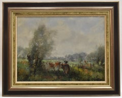 Three cows in meadow field -oil on canvas, dutch painter, naturalistic landscape