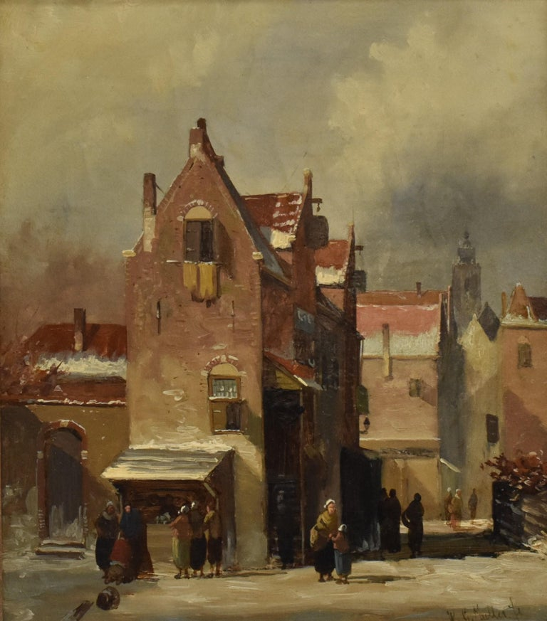Willem Gerardus Muller Landscape Painting - Winter scene The Hague Netherlands - Town view winter holland romantic