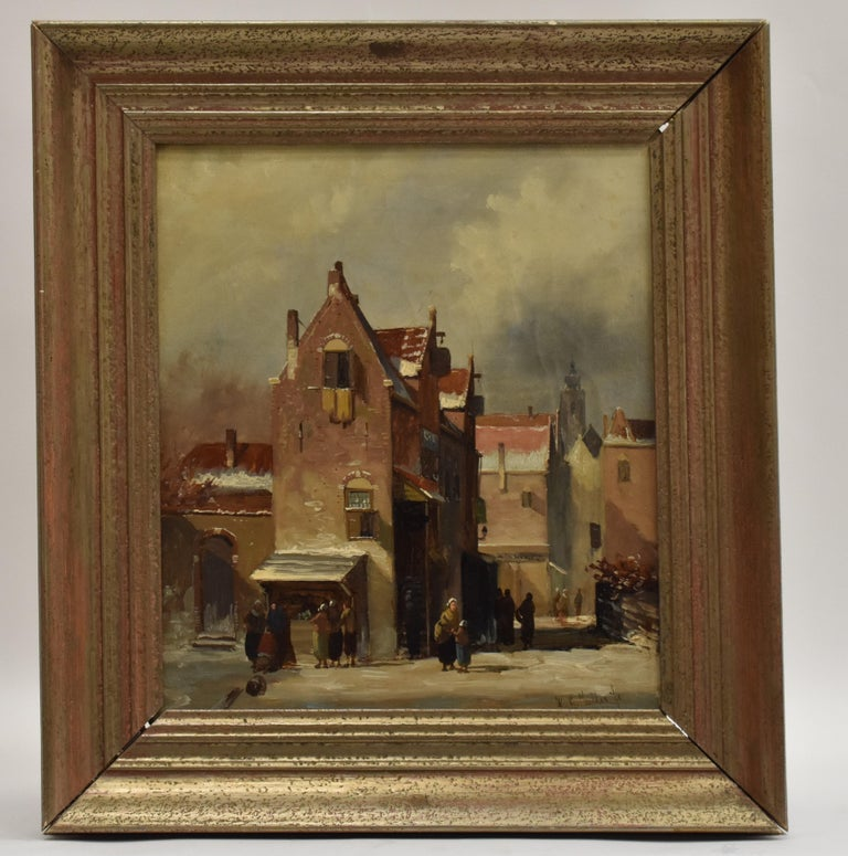 Winter scene The Hague Netherlands - Town view winter holland romantic - Painting by Willem Gerardus Muller