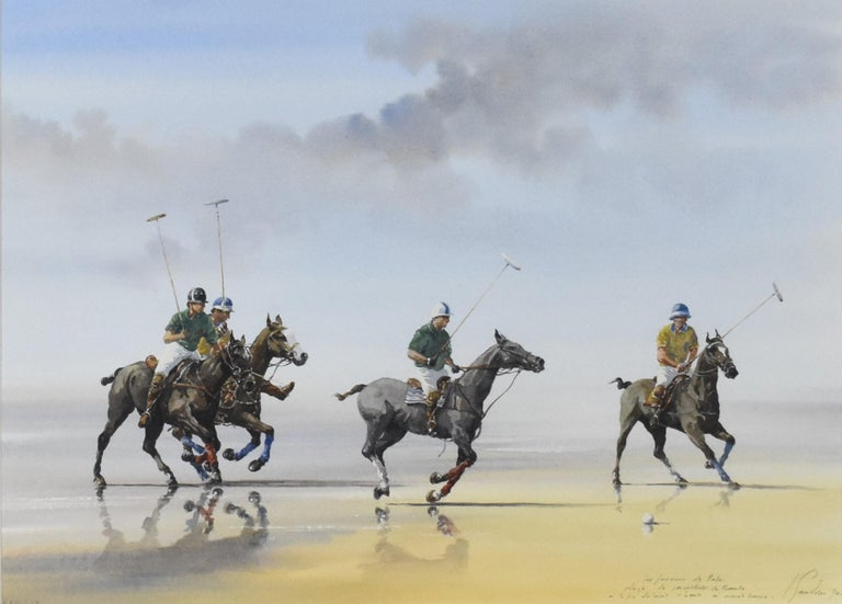 Les Jouers de Polo - Polo players, watercolor, French artist, sports, horses - Art by Alain Gaudin