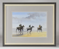 Les Jouers de Polo - Polo players, watercolor, French artist, sports, horses