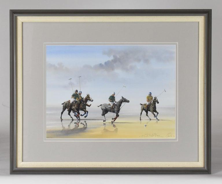 Alain Gaudin Figurative Art - Les Jouers de Polo - Polo players, watercolor, French artist, sports, horses