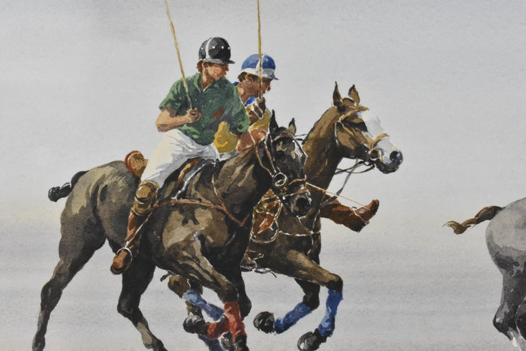 Les Jouers de Polo - Polo players, watercolor, French artist, sports, horses For Sale 1