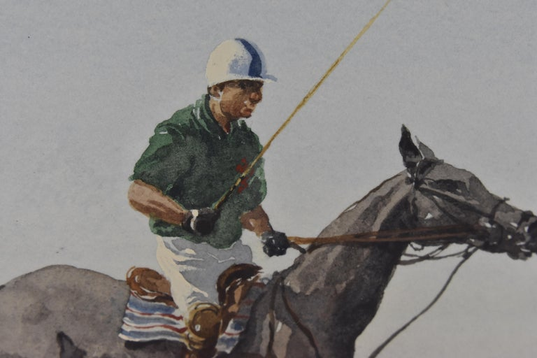 Les Jouers de Polo - Polo players, watercolor, French artist, sports, horses For Sale 6