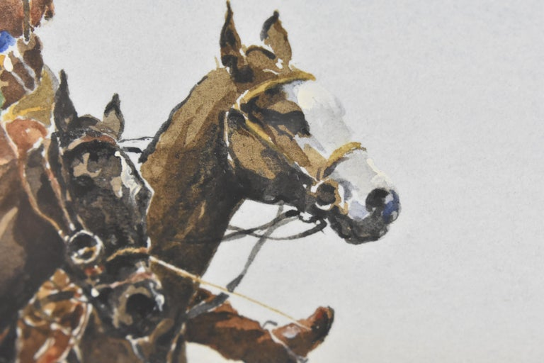Les Jouers de Polo - Polo players, watercolor, French artist, sports, horses For Sale 9
