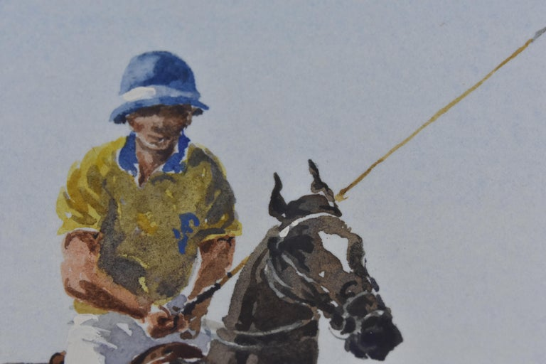Les Jouers de Polo - Polo players, watercolor, French artist, sports, horses For Sale 5
