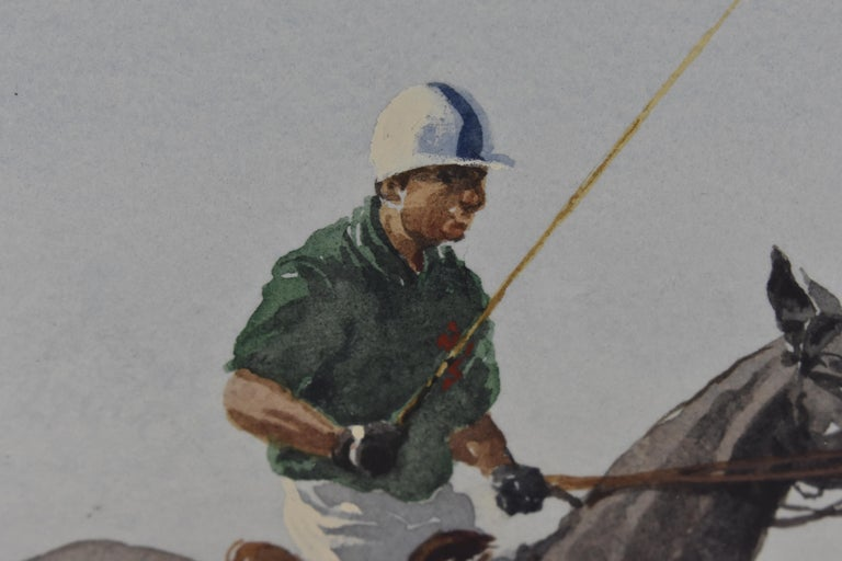 Les Jouers de Polo - Polo players, watercolor, French artist, sports, horses For Sale 10