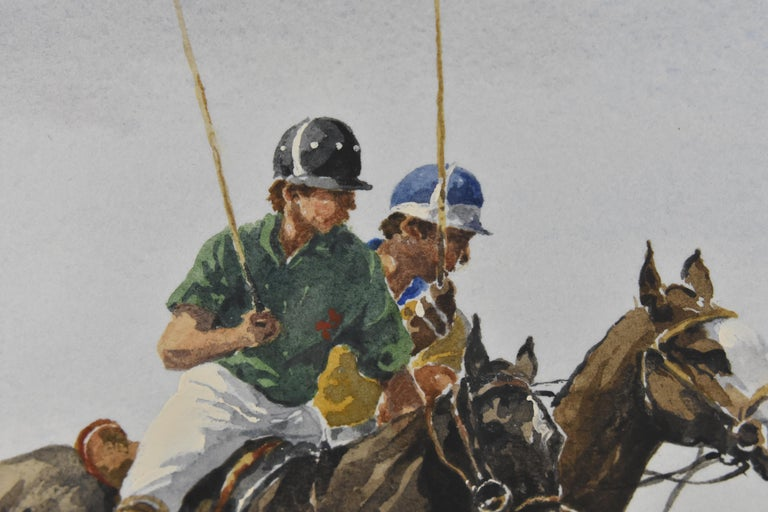 Les Jouers de Polo - Polo players, watercolor, French artist, sports, horses For Sale 7